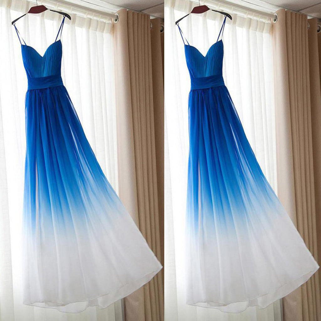 A line  Royal Blue Prom Dresses, Long Bridesmaid Dresses With Pleated Sleeveless Straps ,PDY0306
