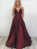 Simple V-neck Long A-line Prom Dresses, Cheap Prom Dresses, BG0445