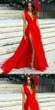Illusion Long V-Neck Open-Back Double Slits Sexy Prom Dress, Evening Dress,PDY0358