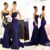 Stunning Spaghetti Straps Navy Blue Lace Long Bridesmaid Dresses,Wedding Party Gowns,WGY0241