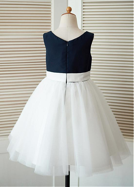 A-line Scoop Knee-length Tulle Flower Girl Dresses With Handmade Flower Girl ,Cheap Flower Girl Dresses,FGY0189