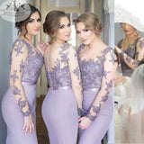 Charming Sexy Mermaid Seen Through Applique Inexpensive Long Bridesmaid Dresses, WGY0133