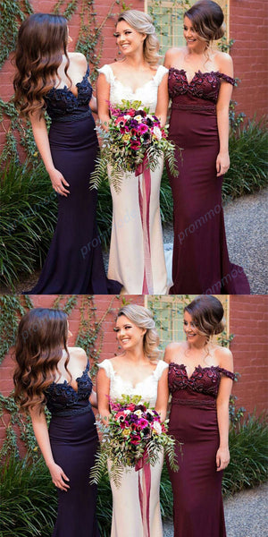 Stunning Burgundy Off-Shoulder Mermaid Sexy Long Bridesmaid Dresses With Beading,WGY0205