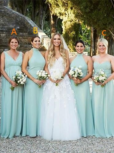 Mismatched Mint Green Chiffon Charming Long Simple Bridesmaid Dresses, Classic Pageant Princess Dresses, Evening Party Dresses, EPR356