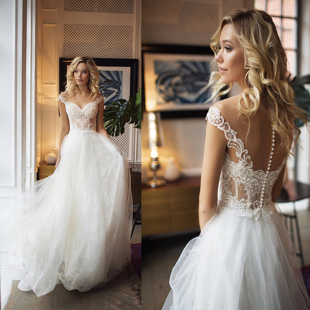 Illusion Tulle Off-the-Shoulder A-Line Wedding Dresses With Lace Appliques & Beading, Wedding Party Dresses,WDY0198