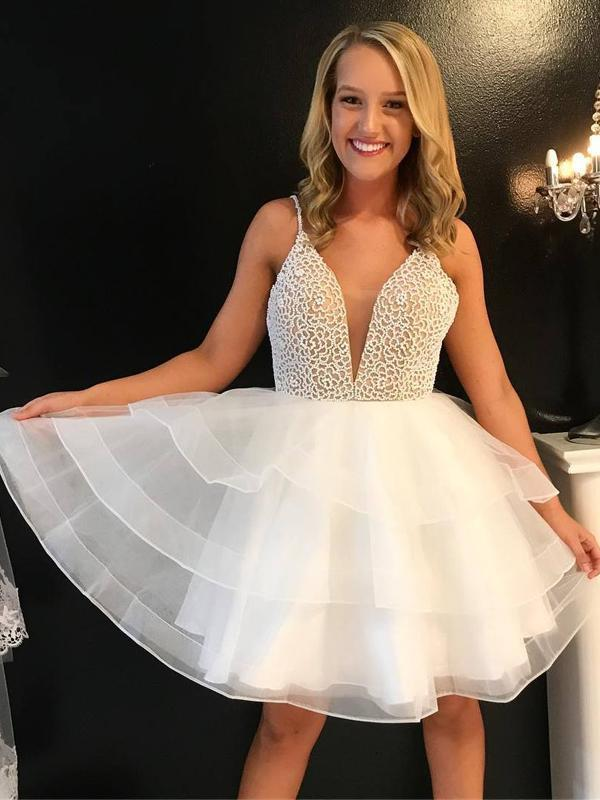 Ivory Sexy V Neck Beaded Cute Homecoming Dresses CM457