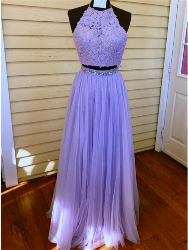 2 Pieces Lace Tulle Prom Dresses, Beaded Prom Dresses, Lilac Prom Dresses, Prom Dresses, BG0392