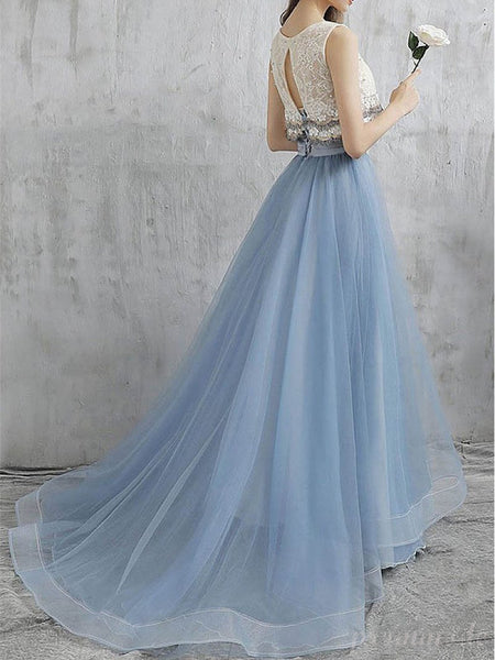 Two-pieces Tulle Appliqued Charming White Blue Long Prom Dresses With Beading, EPR307