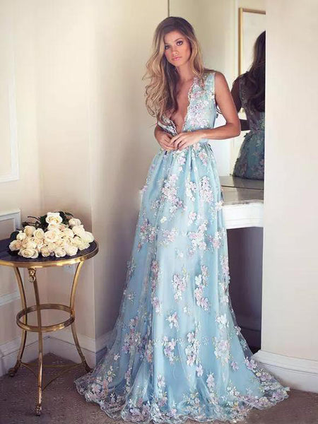 A-line V-neck Light Blue Tulle Prom Dress With Applique ,Cheap Prom Dresses,PDY0414