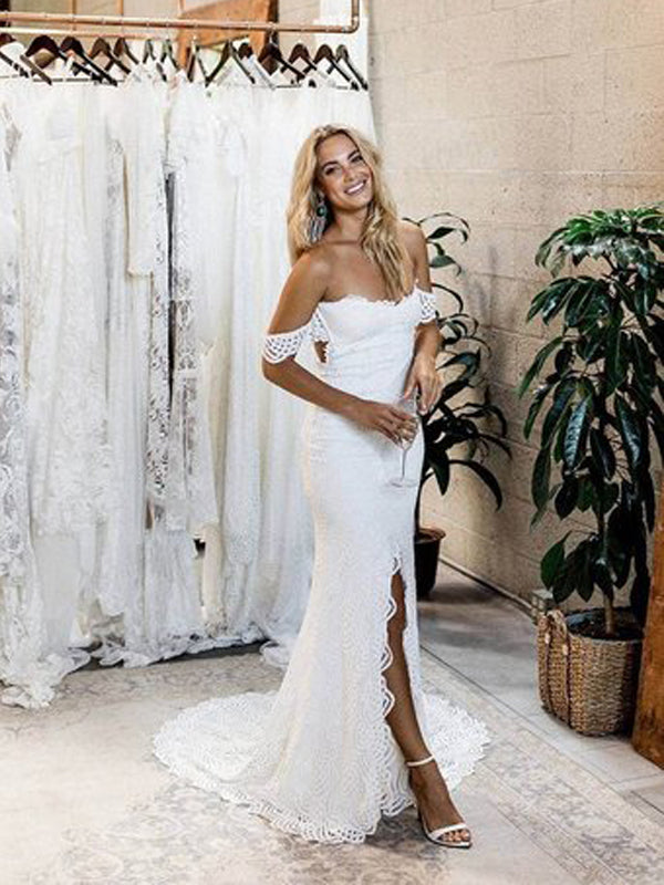 Romantic Off-the-Shoulder White Lace Mermaid Long Side Slit Wedding Dresses, Bridal Dress WDY0200