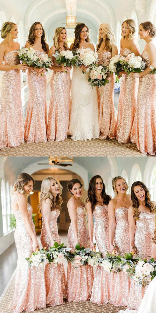 Cheap Rose Gold Sequin Mermaid Long Bridesmaid Dresses,Wedding Party Gowns,WGY0233