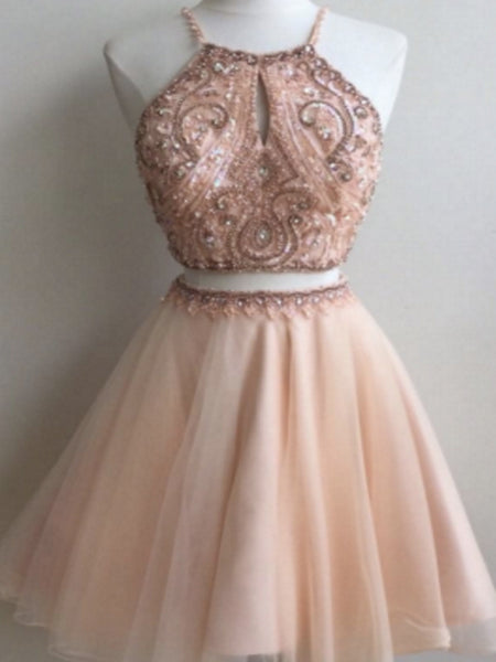 Shinning Two Piece Pink A-Line Scoop Tulle Homecoming Dresses With Beading,Short Prom Dresses,BDY0175