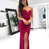 Sheath Simple Evening Gowns,Cheap Party Dress,Dark Red Prom Dresses,Slit Formal Gowns For Teens PDY0227