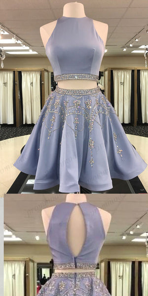 Shinning Two Piece Blue High Neck Homecoming Dresses With Beading,Short Prom Dresses,BDY0177