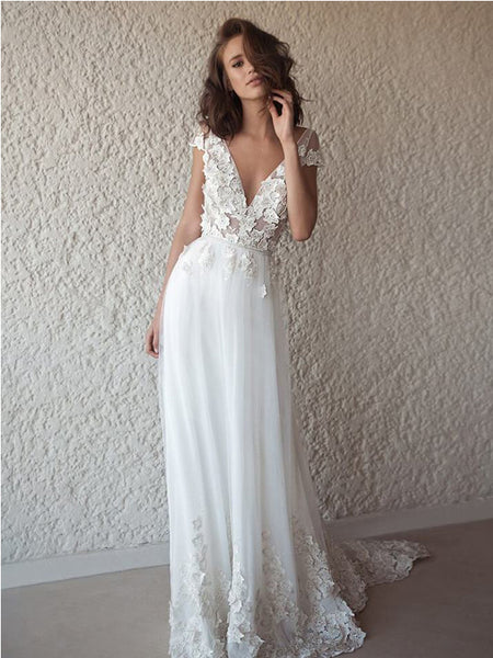 Ivory Cap Sleeve See Through Wedding Dresses,Cheap Wedding Dresses, WDY0301