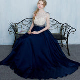 A line Prom Dresses, Blue Prom Dresses, Long Prom Dresses With Beaded/Beading Cap Sleeve Bateau ,PDY0307