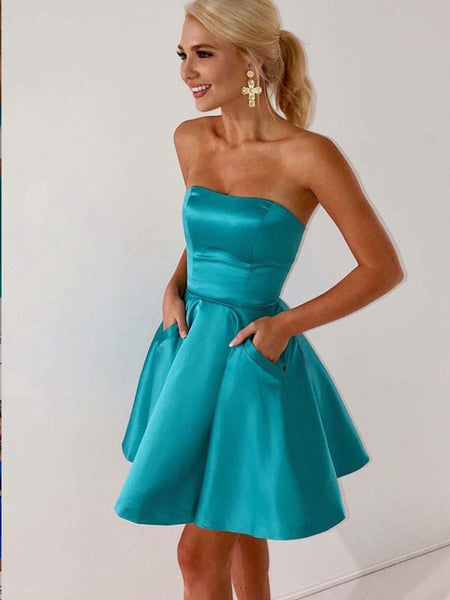 A-Line Strapless Blue Satin Homecoming Dress with Pockets,Short Prom Dresses,BDY0358