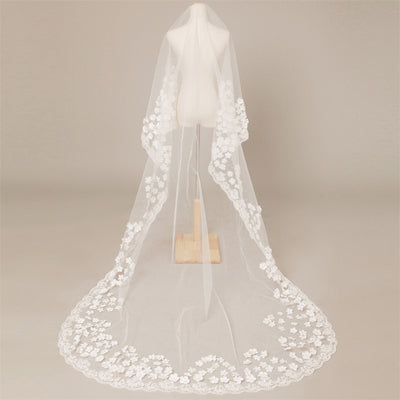 Gorgeous Long  Lace Applique Wedding Veil For Wedding Party, WV0106
