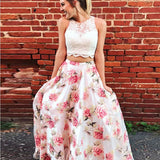 Two Piece A-Line White Lace Long Prom Dresses ,Evening Dresses,Party Dresses,PDY0335