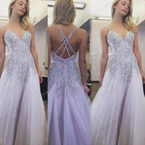 Cheap Spaghetti Straps Long V-neck Floor-length Beading Tulle Prom Dress,Evening Dress,PDY0270