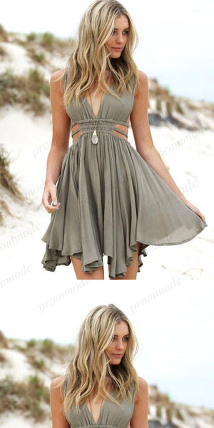 Simple V-neck Grey Chiffon Homecoming Dresses ,Short Prom Dresses,BDY0185