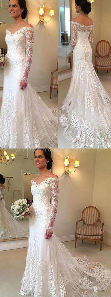 Classic Style Off-The-Shoulder Lace Top Ball Gown Lace Up Wedding Dresses, WDY0128