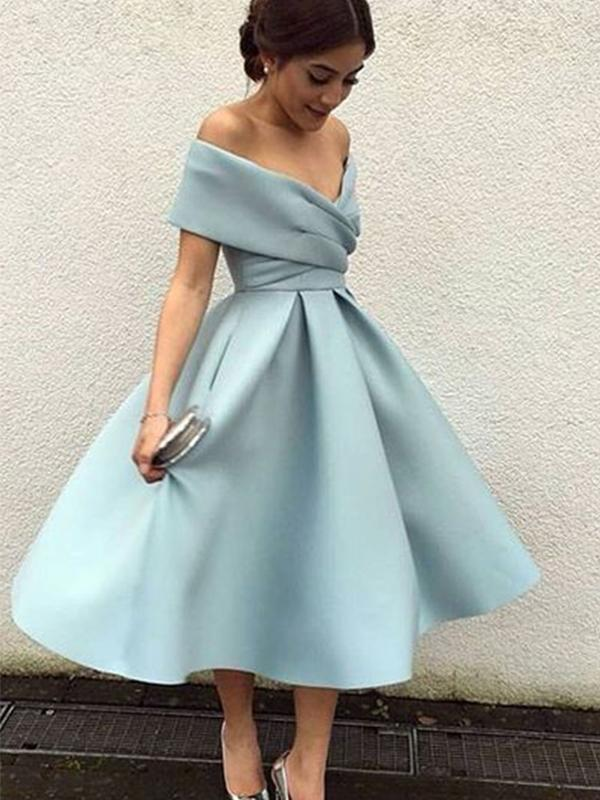 Off Shoulder Dusty Blue Short Cheap Homecoming Dresses  CM543