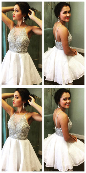 Stunning White A-line Lace Homecoming Dresses With Beading ,Short Prom Dresses,BDY0187