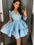 A-Line V-Neck Tiered Blue Satin Homecoming Dress,Short Prom Dresses,BDY0359