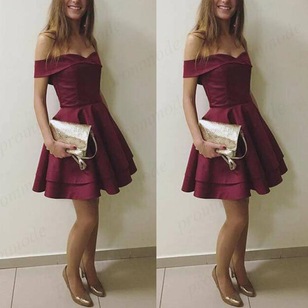 3ec0d3a03756 Stunning Burgundy A-Line Off-the-Shoulder Satin Homecoming Dresses ,Short  Prom