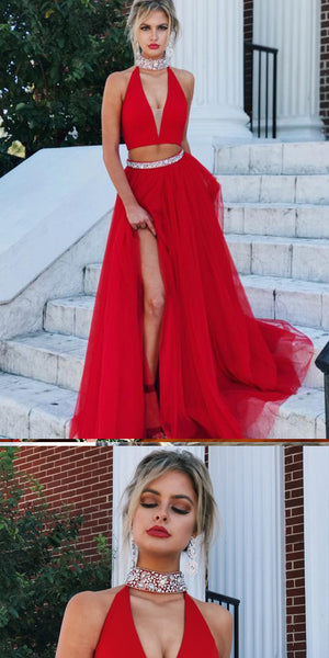 A-line V-neck Beaded Red Tulle  Prom Dress ,Cheap Prom Dresses,PDY0417