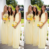 Yellow Chiffon Simple Strapless Cheap Long For Wedding Party ,Bridesmaid Dresses,WGY0139