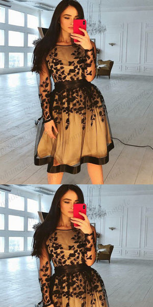 Long Sleeves Organza See Through Black Lace Homecoming Dresses,Short Homecoming Dresses,BDY0194