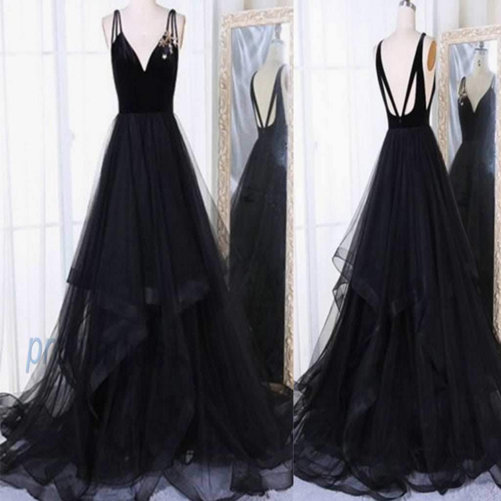 Black Tulle V Neck Long Open Back Ruffles A-line Evening Dress,Prom Dresses, Party Evening Gowns . PDY0198