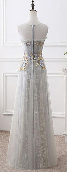 Gray Tulle Long Sweet  Flower Appliques Graduation Dress, Prom Dresses, Party Evening Gowns . PDY0197