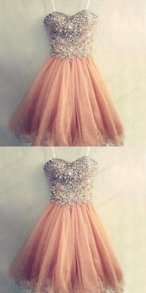 Sweetheart Knee-Length Peach Short Homecoming Dresses  With Beading Rhinestones ,Short Prom Dresses,BDY0168