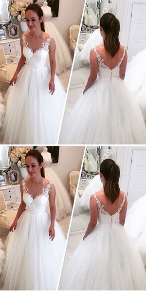 Attractive Straps Tulle A-line Long Wedding Dresses With Lace Appliques,WDY0173