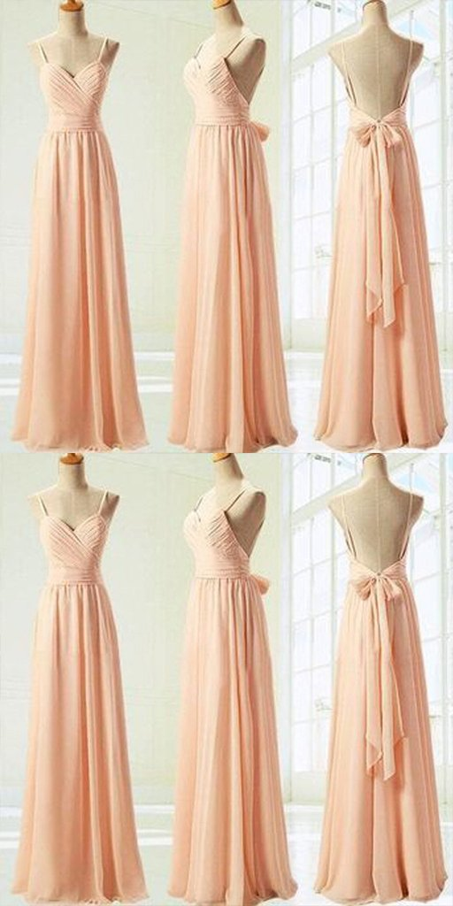 Sweet Heart Backless Pink Chiffon Bridesmaid Dresses,Cheap Bridesmaid Dresses,WGY0359