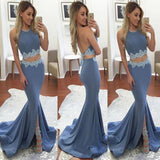 2019 Two Piece Mermaid Long Prom Dress with Train, Elegant Long Prom Dresses,PDY0284