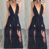 Elegant Black Spaghetti Strap Long Prom Dress With Lace Applique ,Evening Dress,PDY0361