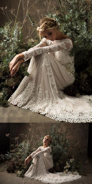 A-line Bateau Long Sleeves White Lace Wedding Dresses.Cheap Wedding Dresses, WDY0271