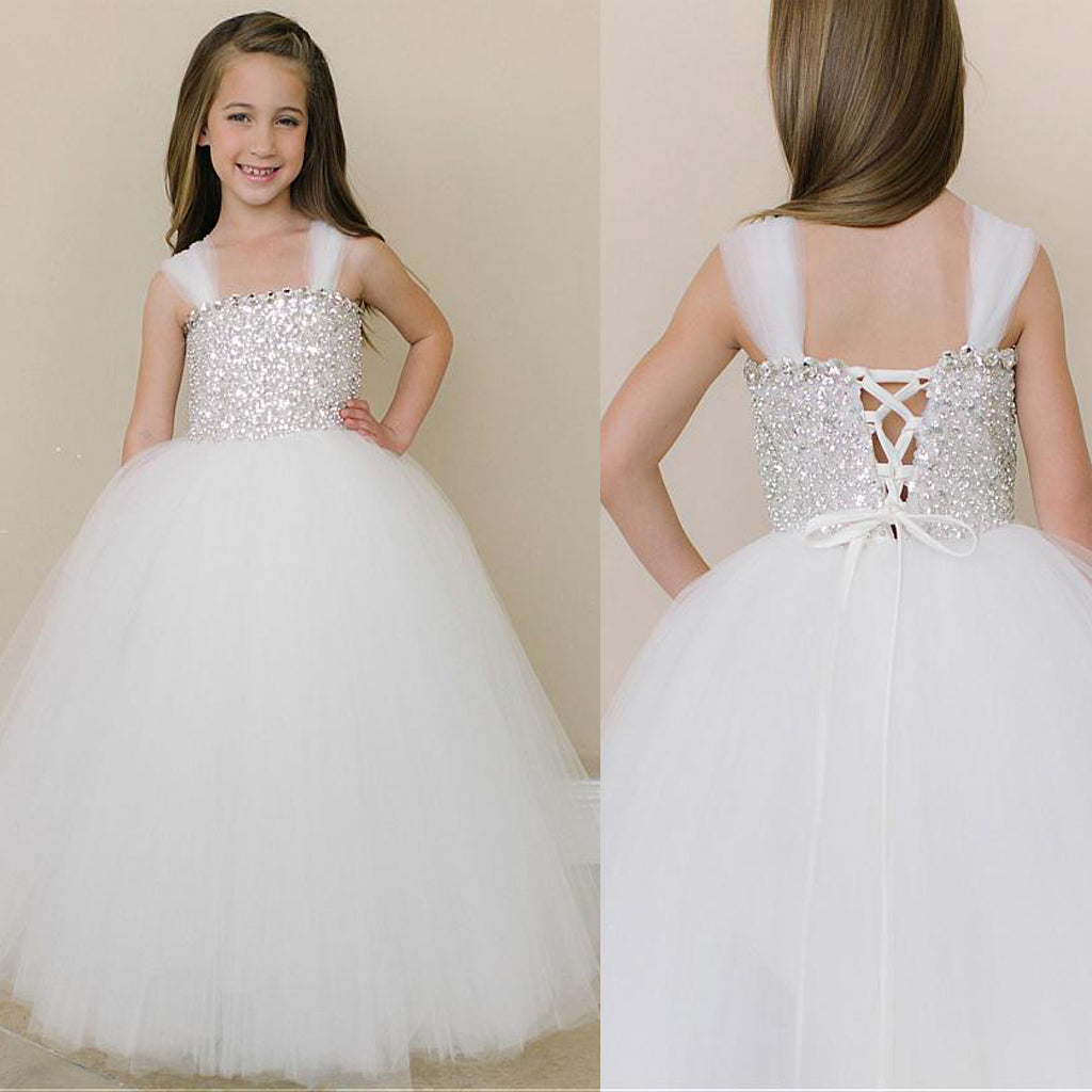 Shinning Spaghetti Straps Rhinestone and Sequin Flower Girl Dresses,Cheap Flower Girl Dresses,FGY0187