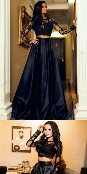 Unique Two Piece Black Long Sleeves Full length A-Line Prom Dresses With Lace Applique ,PDY0376