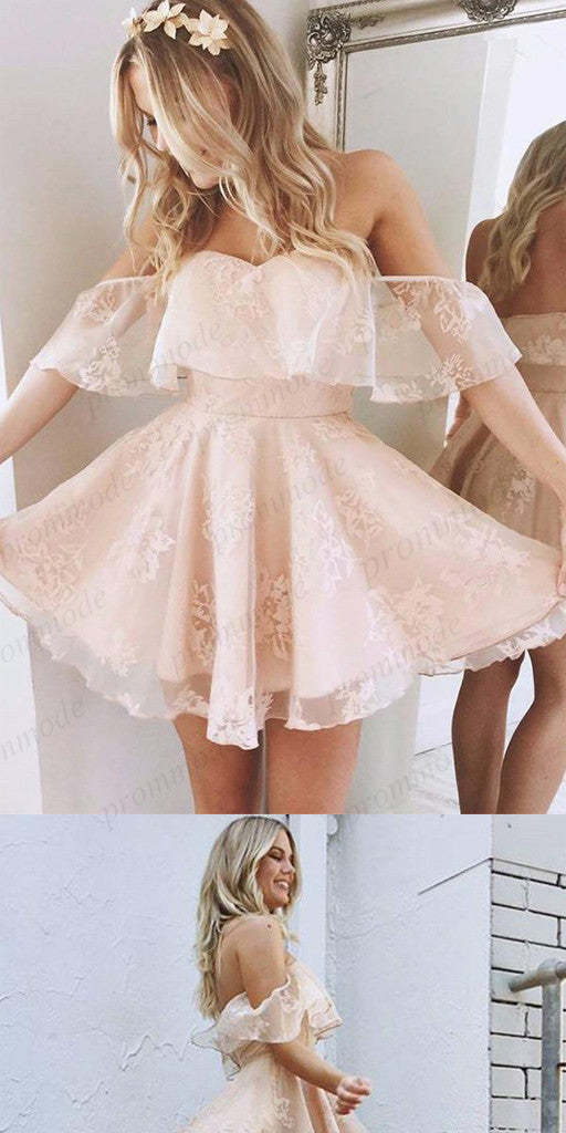 Cute A-Line Pink Off-the-Shoulder Homecoming Dresses ,BDY0171