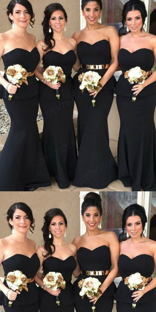 Cheap Sweetheart Black Mermaid Long Bridesmaid Dresses With Belt,Wedding Party Gowns,WGY0239