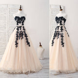 Black Tulle Lace Applique Long Prom Dress, Black Evening Dress,,Party Prom Dresses,PDY0213