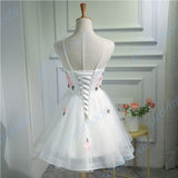 Cute A-line Organza White Sleeveless Lace-up Short Homecoming Dress ,BDY0164