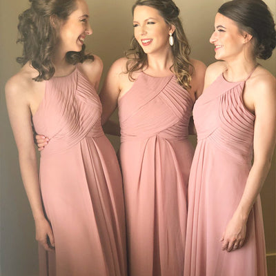 Cheap Pink Scoop Chiffon Custom Long Bridesmaid Dresses ,Formal Evening Dresses,WGY0219