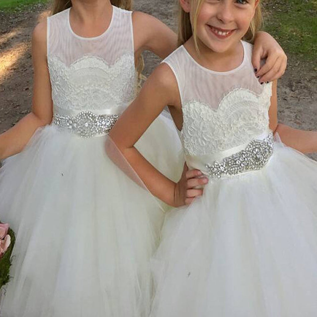 Cheap Tulle A-Line Ball Gown, Little Girl Dresses With Rhinestone ...