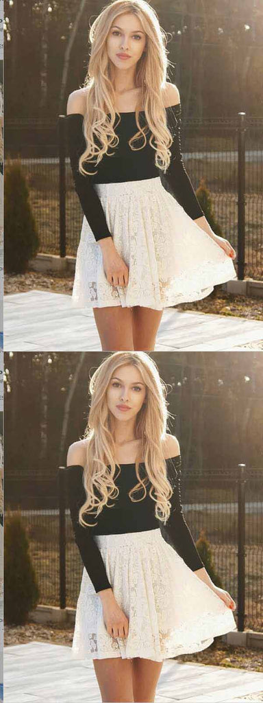 Two Piece Ivory Lace Long Sleeves Homecoming Dress ,Short Prom Dresses,BDY0350